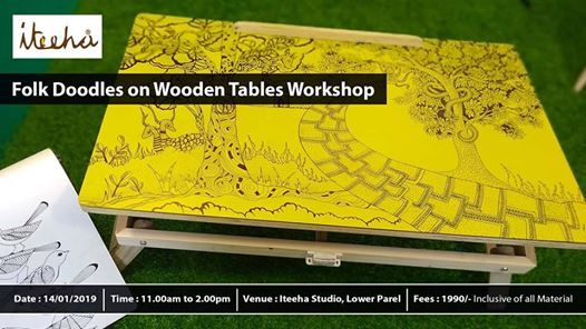 Folk Doodles on Wooden Table