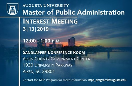 Augusta University MPA program Aiken Government Interest Meeting