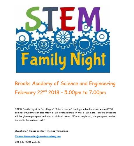 Stem School Night: STEM Family Night At Brooks Academy Of Science And