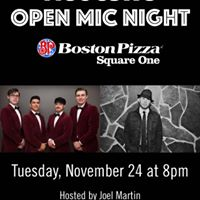 Acoustic Open Mic Night at Boston Pizza SQ1 on Tues Nov 24th