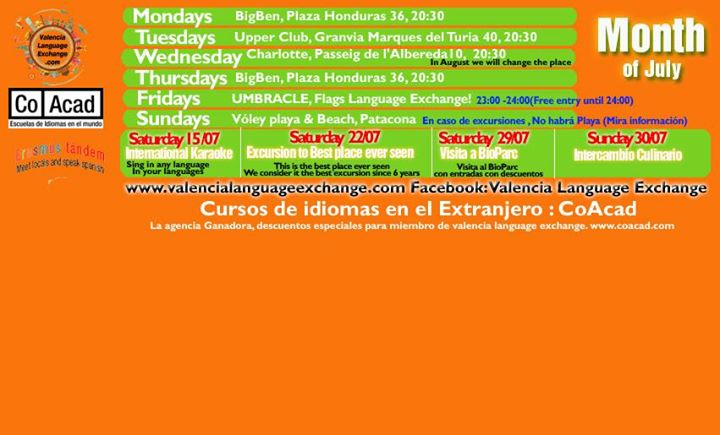 Language Exchange Meetings July (Valencia Language Exchange)