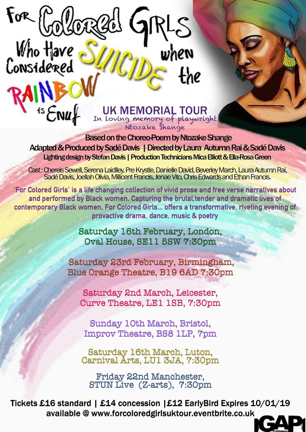 For Colored Girls - UK Memorial tour (BIRMINGHAM)