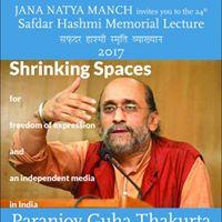 Safdar Hashmi Memorial Lecture 2017 by Paranjoy Guha Thakurta