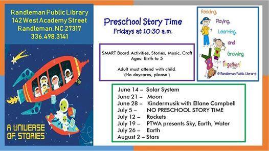 Preschool Story Time - No Preschool Story Time at Randleman