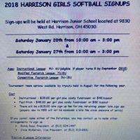Harrison Girls Softball Signups