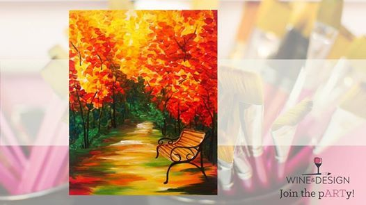 Autumn Bench Byob Painting Class At Wine Design Greenville Sc