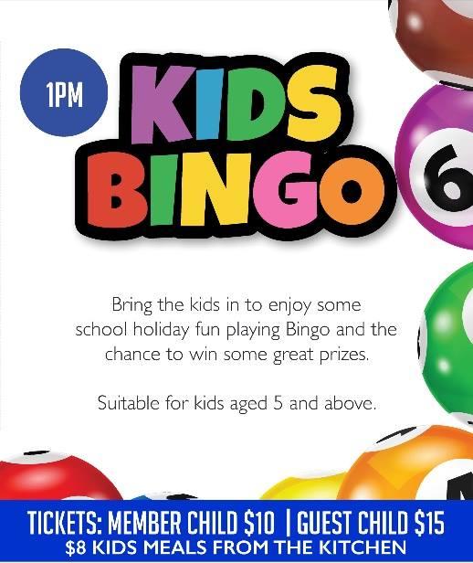 school holiday kids bingo at magpies waitara waitara