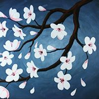 Cherry Blossoms Canvas and Wine Paint Night at Mocha Cabana