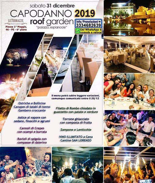 Capodanno 2019 a ROOF Garden Le Terrazze di Pescara Esclusivo Chic Elegante per VIP con Cena Spettacolo Gala Pesce Vino illimitato Discoteca