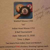 8-Ball Pool Tournament IH Moose v Waldorf Moose