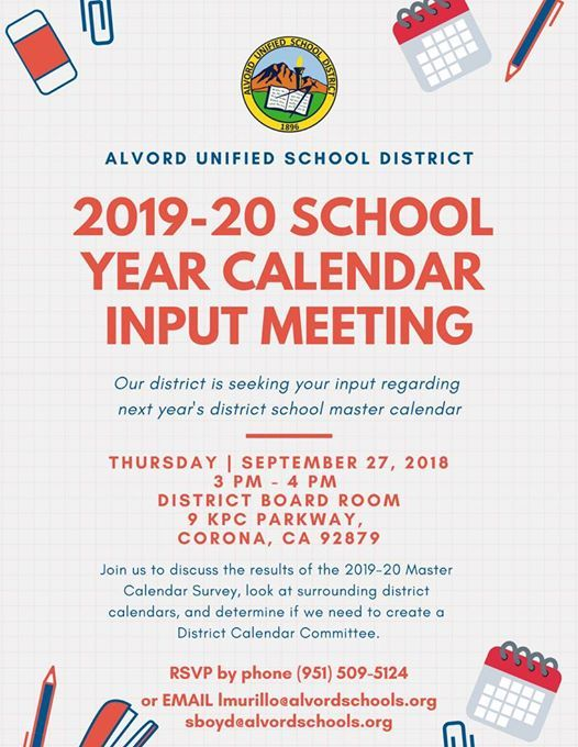 2019 20 school year calendar input meeting