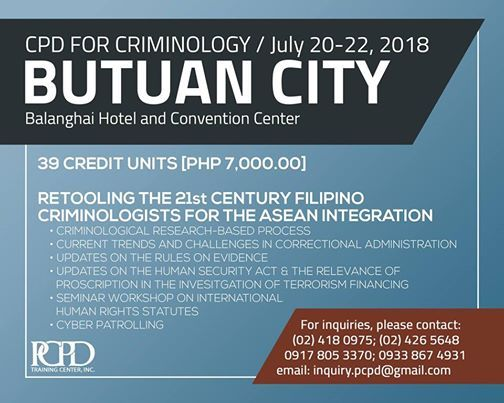 Caraga CPD Classes for Criminologists at Balanghai Hotel and