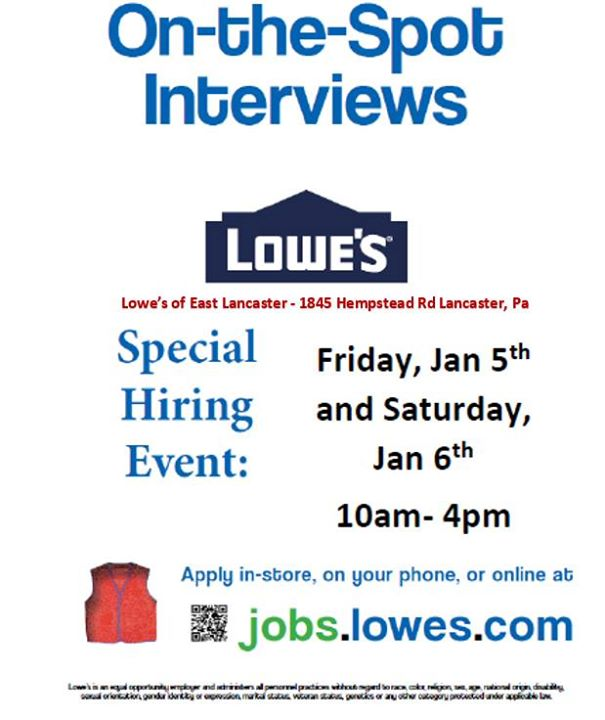 Lowes Of East Lancaster Hiring Event Lancaster
