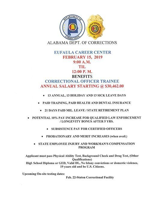 Alabama Department Of Corrections Job Fair Fri Feb 15 2019 At 09 00 Am