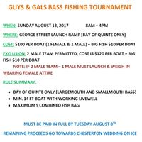 Guys &amp Gals Fishing Tournament for Future Mrs. &amp Mr. Chesterton