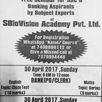 Free Seminar for Banking(POClerk) Aspirants by Subject experts
