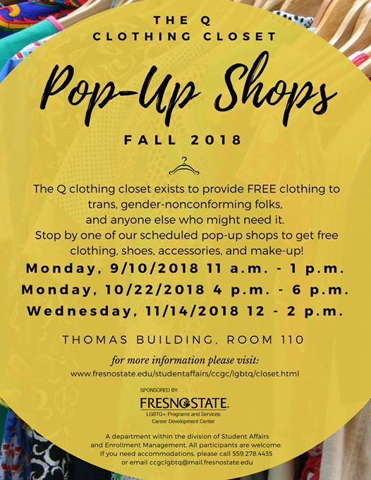 Q Clothing Closet: Pop-up Shop! at Fresno State's Cross Cultural and