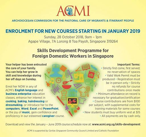 enrolment day for jan 2019 at acmi singapore toa payoh
