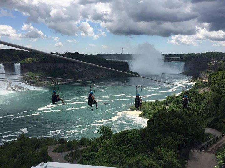 Women Zipling over Niagara