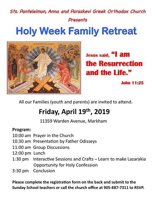Holy Week Family Retreat at Saints Panteleimon, Anna