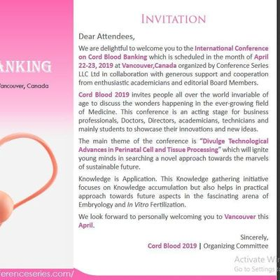 International Conference on Cord Blood Banking (CSE) A