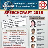Speechcraft 2018 4 interactive sessions 17 24 31 Jan &amp 7 Feb
