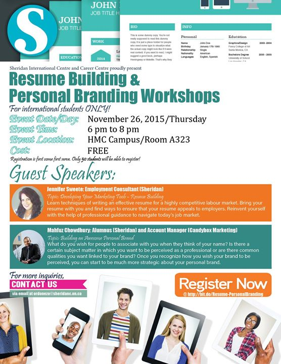 Resume Building and Personal Branding Workshops at Sheridan Pilon ...