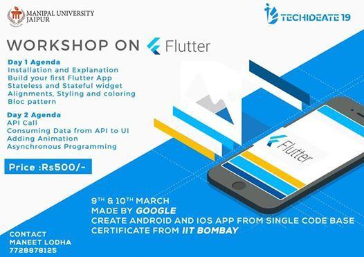 Workshop on Flutter at Manipal University Jaipur, Jaipur