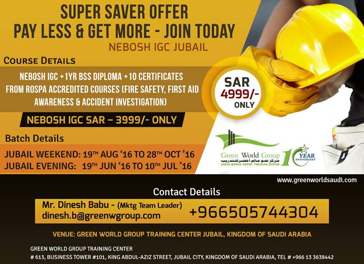 Nebosh Course In Saudi Arabia At Green World Management Consultants