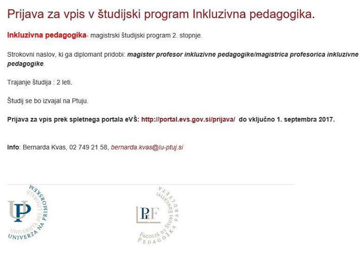 Prijava Za Vpis V Tudijski Program Inkluzivna Pedagogika