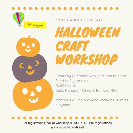 Halloween Craft Workshop For Kids At Kydz Hangout Hyderabad