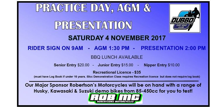 Practice Day Agm Presentation 2017 At Dubbo Dirt Bike Club Dubbo