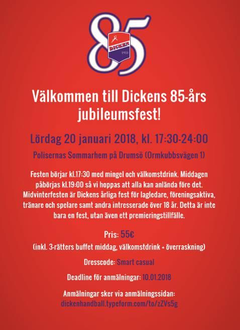 18 års överraskning Dickens 85 års jubileumsfest at Poliisien Kesäkoti, Helsinki 18 års överraskning