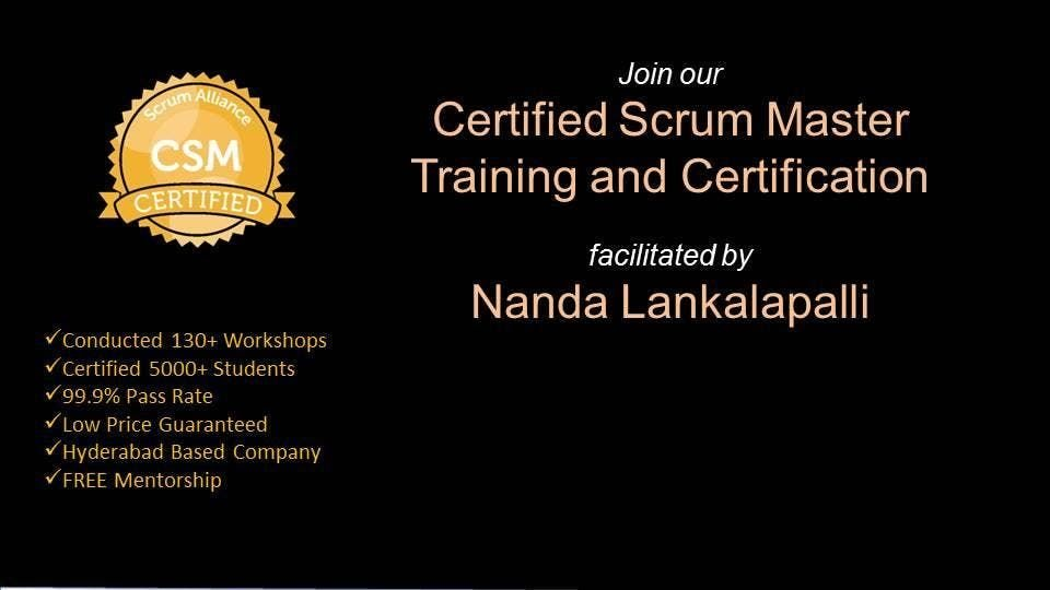CSM Training Certification In Hyderabad on 16-17 March 2019