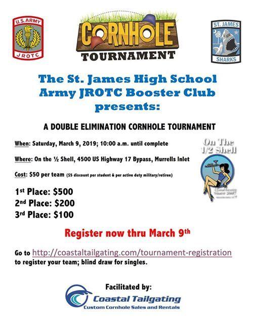 SJHS JROTC Booster Club Cornhole Tournament at St  James Army JROTC