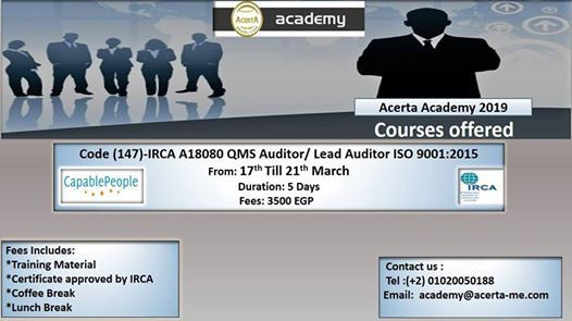Code (147)- IRCA A18080 QMS Auditor Lead Auditor ISO 90012015