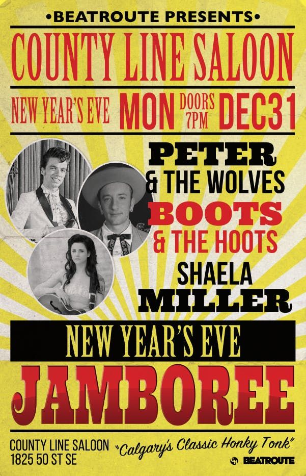 New Years Jamboree Peter& the Wolves Boots & the Hoots Shaela Miller