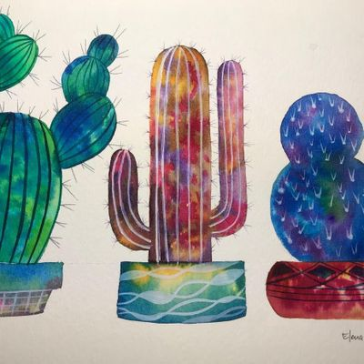 Painting Cacti with Watercolor 3 Different Ways