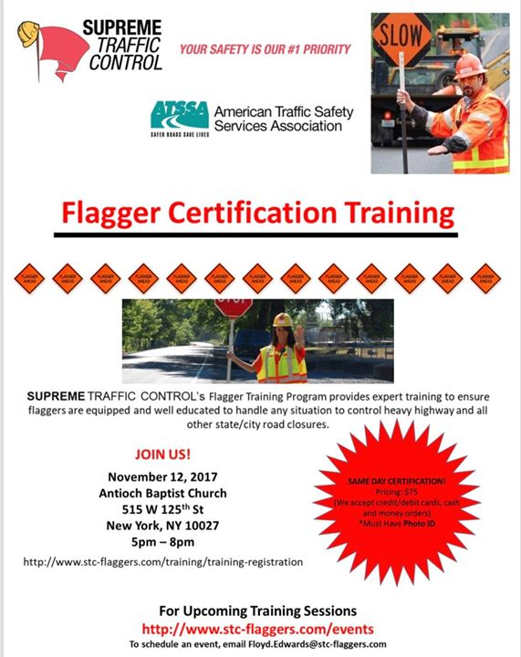Flaggers Certification Class Nyc 75 At Antioch Baptist Church
