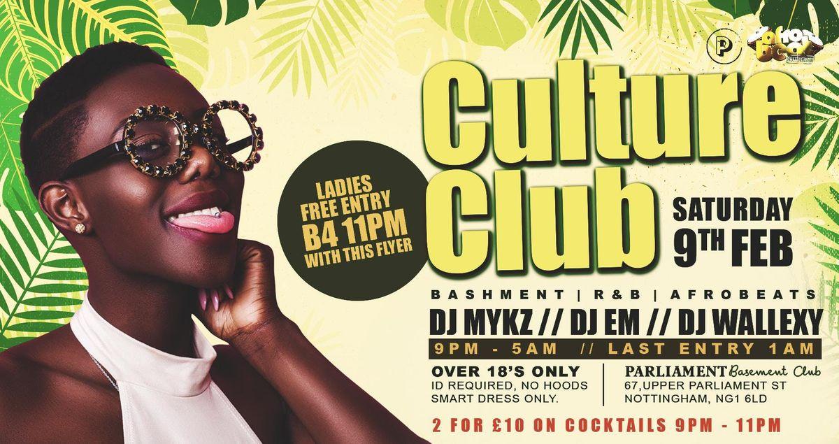 Culture Club - Bashment vs Afrobeats + Free Cocktails  at Parliament