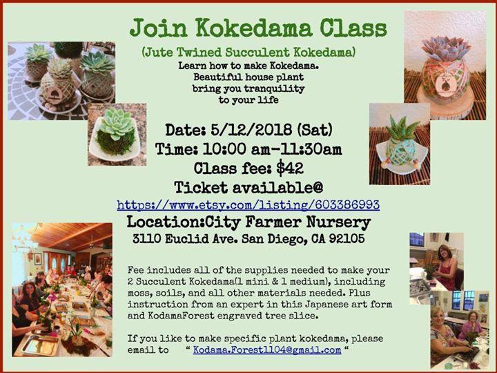 Kokedama Workshop May 12, Saturday@City Farmers Nursery at