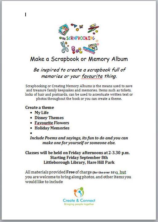 Make A Scrapbook Or Memory Album At Littleborough Library Greater