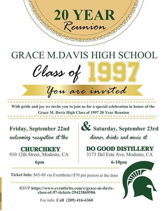 Grace M Davis High School: 20 Year Reunion at Modesto, CA