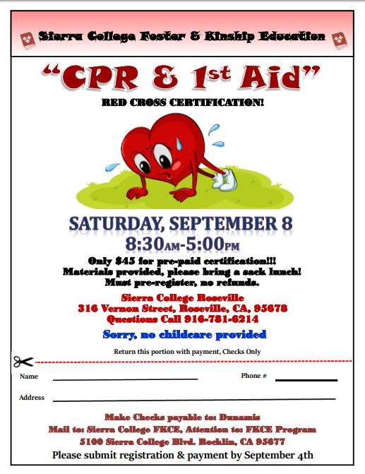 Cprfirst Aid Red Cross Certification Saturday September 8th At