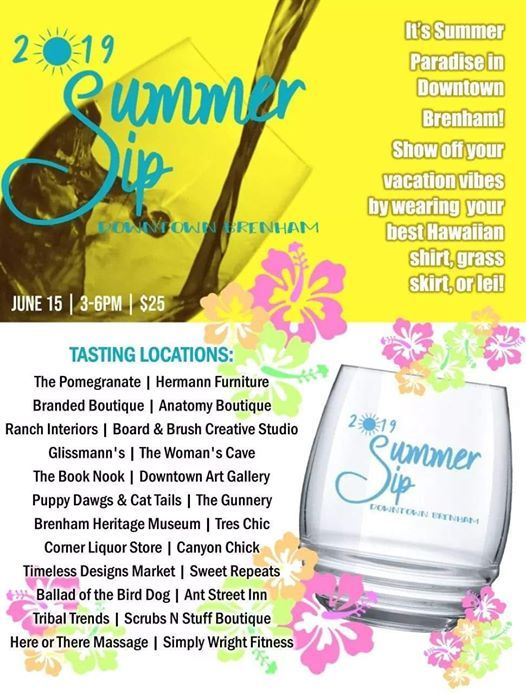 Downtown Brenham Summer Sip And Stroll With A Bite of Cloud 9! at