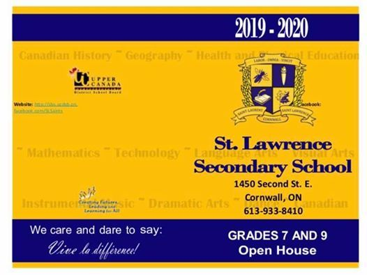 St. Lawrence Secondary School Grades 7 and 9 Open House