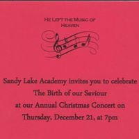 Sandy Lake Academy Annual Christmas Concert &quotHe Left the Music of Heaven&quot