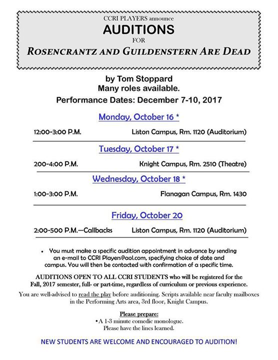 Auditions For Rosencrantz Guildenstern Are Dead At Community