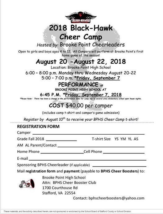 2018 Black Hawk Cheer Camp