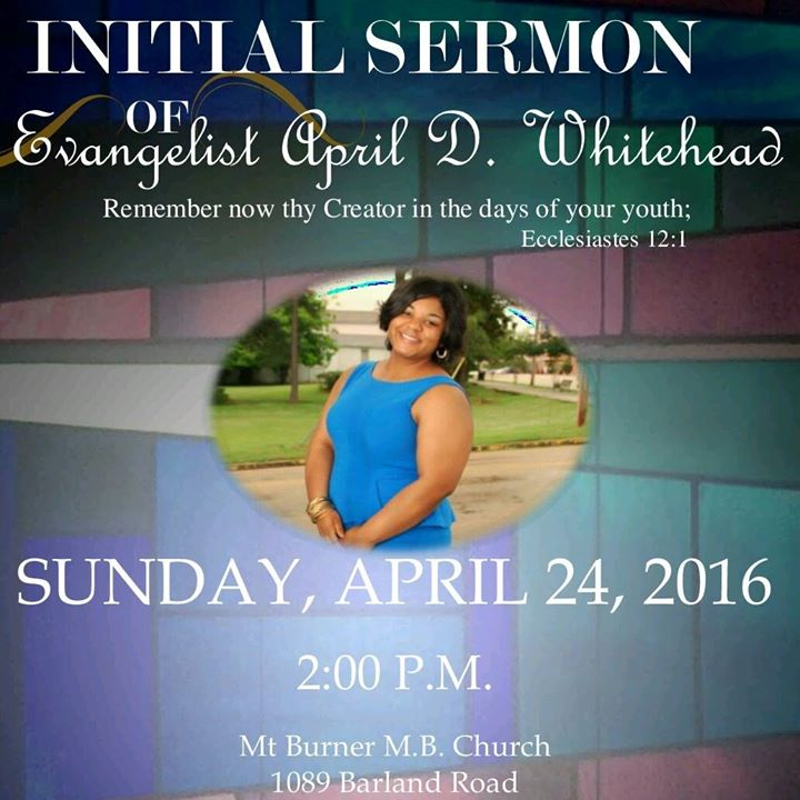 April Whiteheads Initial Sermon at Mt Burner MB Church Port Gibson